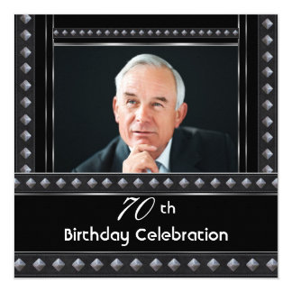 Mens 70th Birthday Party Black White Silver 13 Cm X 13 Cm Square Invitation Card