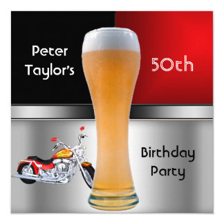 Mens 70th Birthday Party Red Beer Motorbike 5.25x5.25 Square Paper Invitation Card