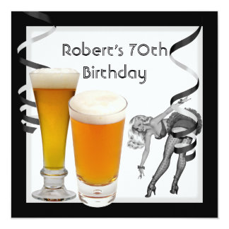 Mens 70th Birthday Party Retro Girl PINUP Beer 13 Cm X 13 Cm Square Invitation Card