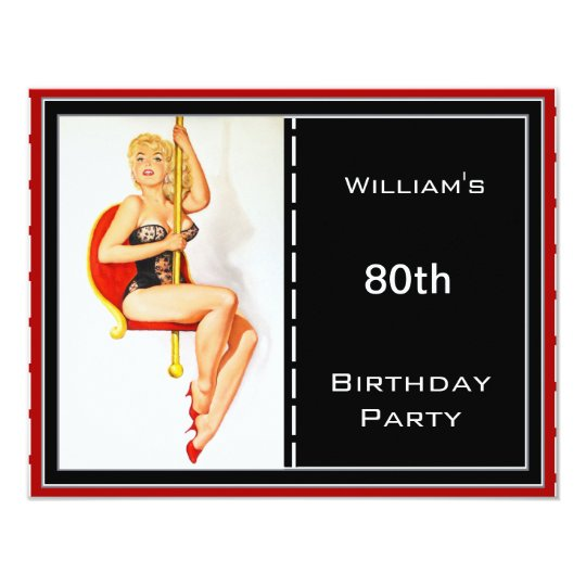 Mens 80th Birthday Party Red Black Pin-up Card