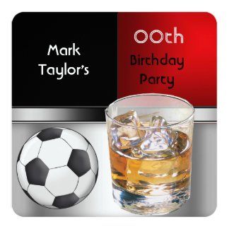"""Mens Add Age Birthday Party Red Drink Soccer 5.25"""" Square Invitation Card"""