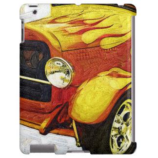 Men's Artistic Orange Flame Classic Car iPad Case