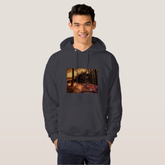 Men's Basic Hooded Sweatshirt Train in the Forest