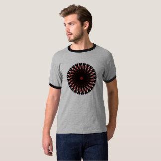 Men's Basic Ringer T-Shirt RED/BLACK CIRCLE SUN
