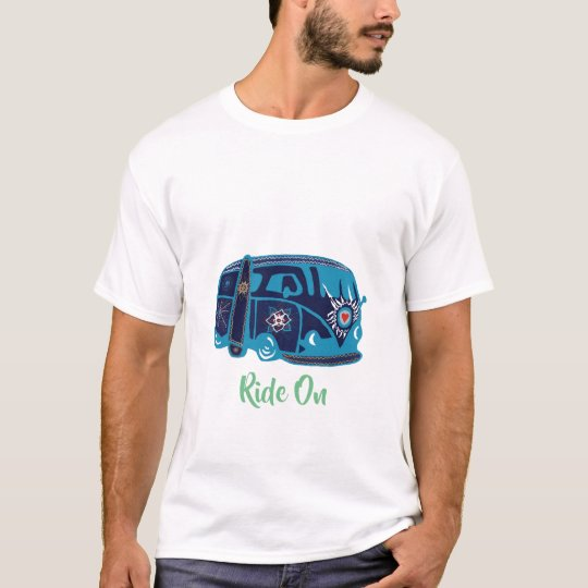 Men's Basic T-Shirt, White Ride On Van Hippie