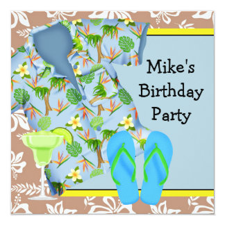 Mens BBQ Margarita Beach Birthday Party Invitation