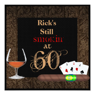 MENS Birthday Cigars,Poker and BRANDY INVITATIONS