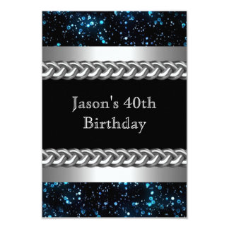 Mens Birthday Party Blue Metal Chrome Silver Image 9 Cm X 13 Cm Invitation Card