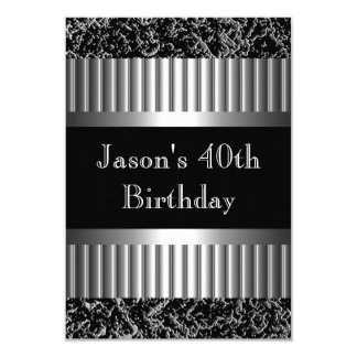 Mens Birthday Party Metal Chrome Look Images 9 Cm X 13 Cm Invitation Card