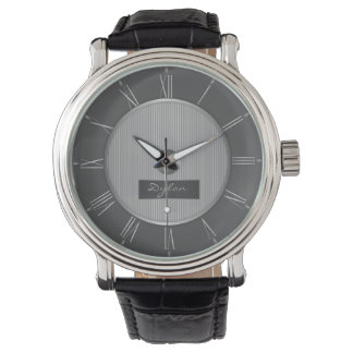 Men's black and silver grey steel watch