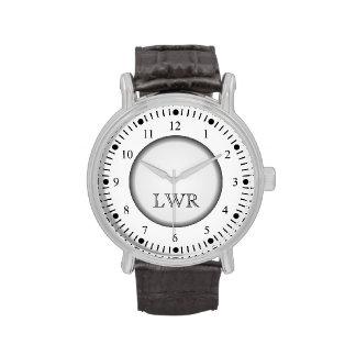Men's Black and White Monogram Watch