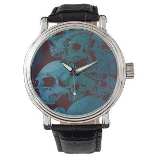 Mens Black & Blue Pile of Skulls  Vintage Watch
