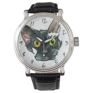 Men's Black Cat Vintage Black Leather Strap Watch