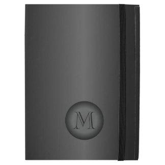 "Mens Black Gray Gradient Monogram iPad Pro 12.9"" Case"