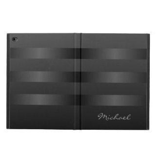 Mens Black Gray Stripes Pattern Monogram Powis iPad Air 2 Case