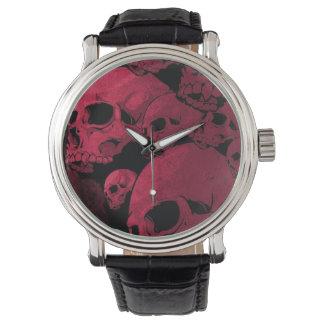 Mens Black & Red  Pile of Skulls  Vintage Watch