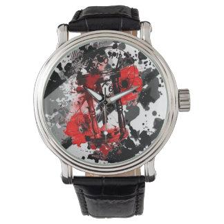 Mens Black & Red  Sands of Time  Vintage Watch