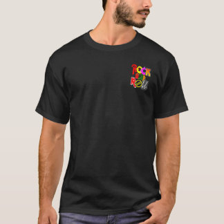 Men's Black Rock and Roll Front Pocket and Back T-Shirt