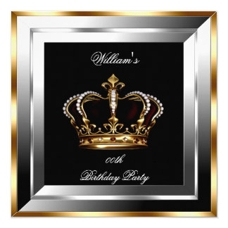 Men's Black Silver Gold Birthday Prince King Card