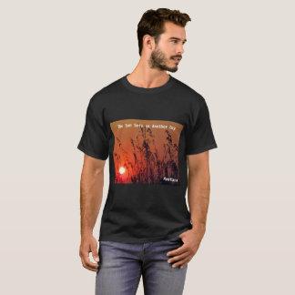 Men's Black T-Shirt Montana Sunset Behind Grasses