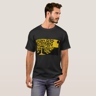 mens black t shirt with bright yellow design
