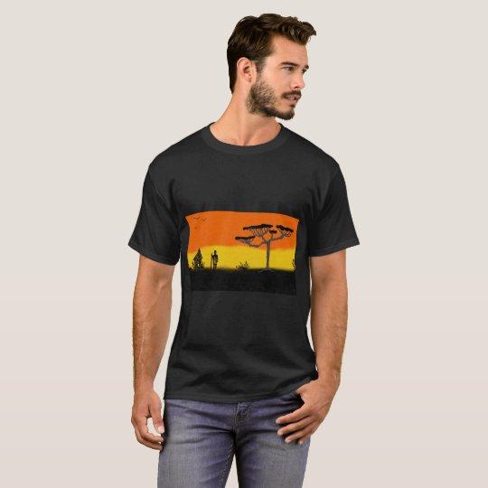 mens black t shirt with sunset scene