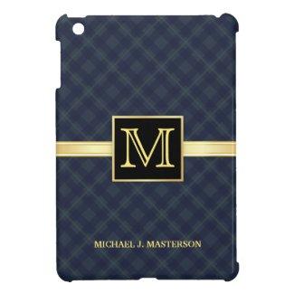 Men's Blue Plaid Monogram iPad Mini