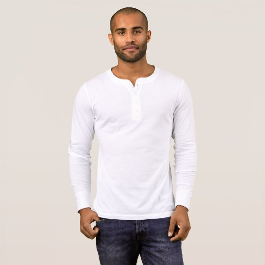 Men's Bella+Canvas Henley Long Sleeve Shirt, White