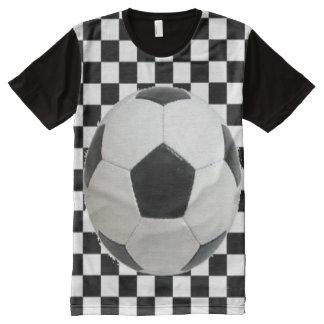 Men's Checkered  Soccer Ball Shirt. All-Over Print T-Shirt