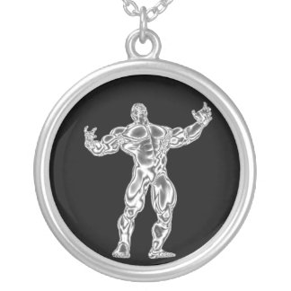 Mens Chrome Bodybuilder Get Pumped Necklace