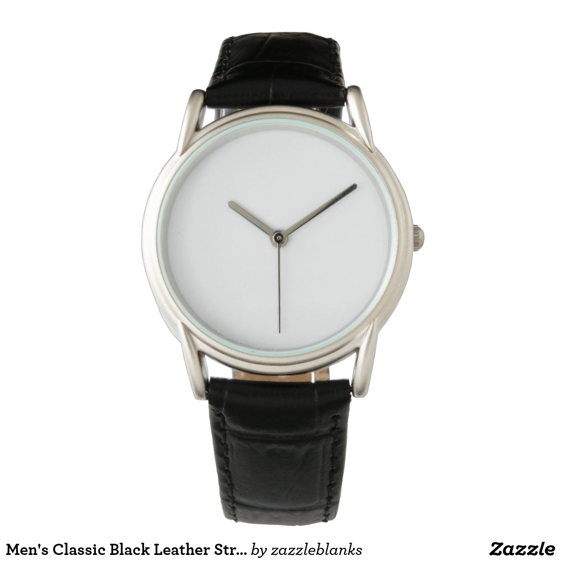 Men's Classic Black Leather Strap Watch