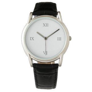 Men's Classic Black Leather Strap Watch