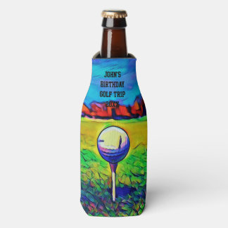 Men's Custom Golfing Birthday Favors Golf Trip Bottle Cooler