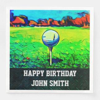 Men's Custom Golfing Birthday Napkins Disposable Napkin