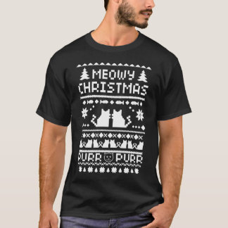 Men's Dark Meowy Christmas Ugly Cat T-Shirt