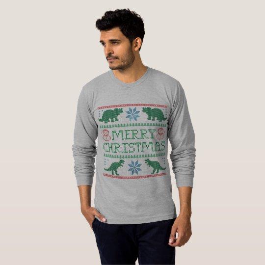 Men's Dinosaur Long-Sleeve Ugly Christmas T-Shirt