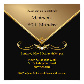 Men's Elegant Gold Black 60th Brithday Invitations