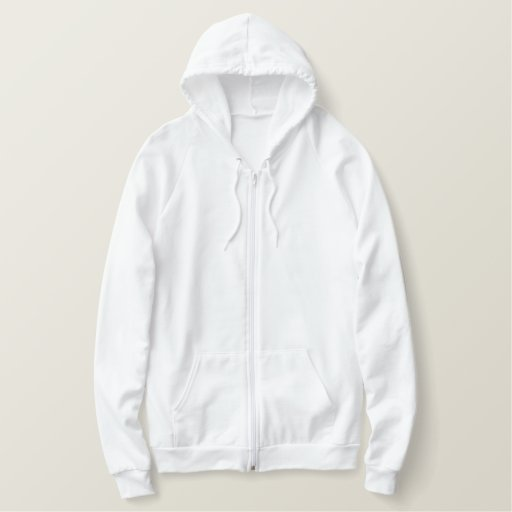 White Embroidered AA Fleece Zip Hoodie