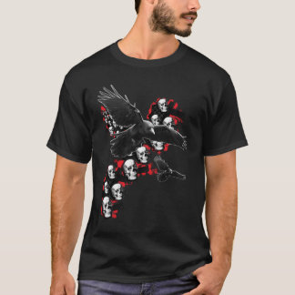 Mens Emo guys Goth music Crows in flight Skull T-Shirt