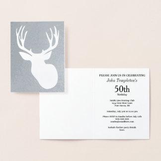 Men's Foil Deer Hunting Birthday Invitations