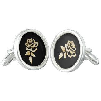 Men's Gold Rose Round Cuff Links