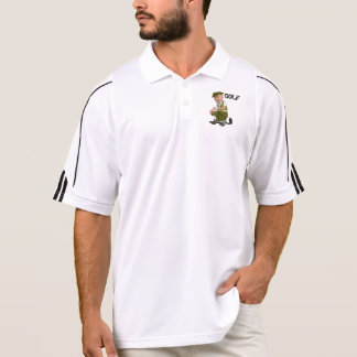 Men's Golf Adidas Polo Shirt With Cartoon Golfer