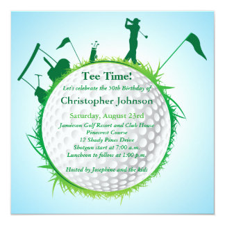 Mens Golfing 50th Birthday Party Invitation