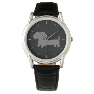 Mens Gray Dachshund Leather Band Watch