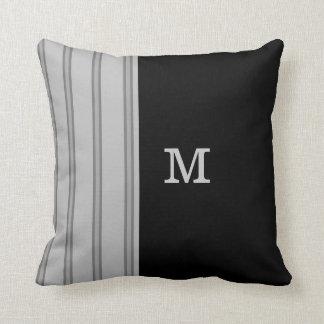 Mens Gray Pinstripe on Black and Monogram Option Cushion