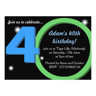 Mens Green / Blue Thirtieth 40th Birthday Party Card