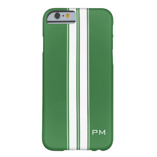 Mens Green White Racing Stripes Initials Barely There iPhone 6 Case