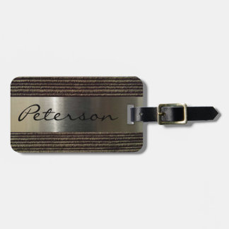 Men's Grey Corduroy And Steel Image Luggage Tag