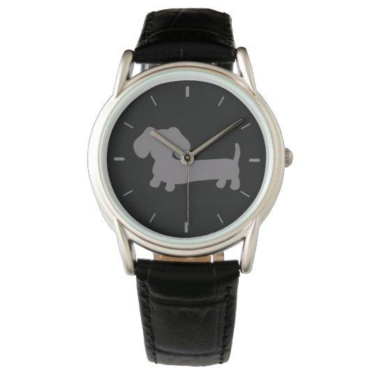 Mens Grey Dachshund Leather Band Watch
