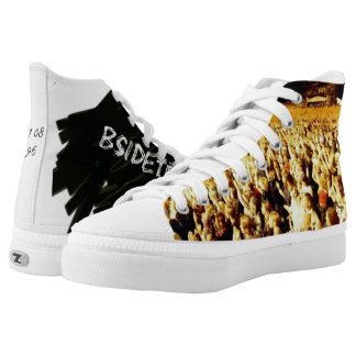 Mens high shoes printed shoes
